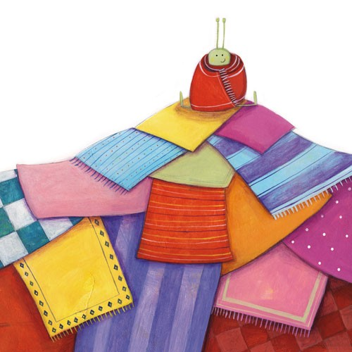 Judi Abbot Illustration - judi, abbot, judi abbot, acrylic, paint, painted, traditional, commercial, picture book, picturebook, colour, colourful, sweet, bug, blanket, pattern, snuggle, wrapped