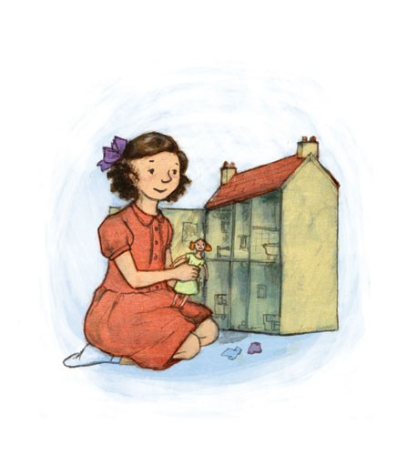 Gabby Grant Illustration - gabby grant, gabby, grant, traditional, digital, picture book, fiction, educational, graphic novel, commercial, painted, classic, people, person, girls, children, kids, child, toys, playing, homes, dresses, bows, doll house,