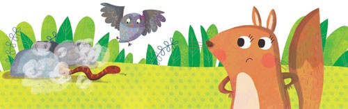 Giuditta Gaviraghi Illustration - giuditta, gaviraghi, guiditta gaviraghi,digital, traditional, commercial, picture book, picturebook, colour, colourful, sweet, cute, animal, squirrel, owl, snake, rocks, leaves, grass
