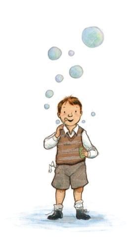 Gabby Grant Illustration - gabby grant, gabby, grant, traditional, digital, picture book, fiction, educational, graphic novel, commercial, painted, classic, people, person, boys, males, kids, children, child, vintage, retro, shorts, shirts, clothes, garments, bubbles, games, outdoo