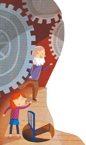 Giuditta Gaviraghi Illustration - giuditta, gaviraghi, guiditta gaviraghi, acrylic, paint, painted, traditional, commercial, picture book, picturebook, colour, colourful, sweet, cute,people, person, figures, child, girl , man, cogs, clock, stairs