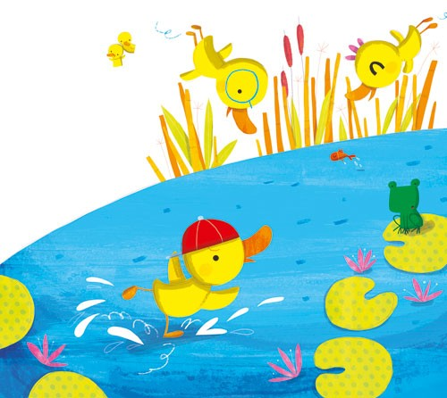 Giuditta Gaviraghi Illustration - giuditta, gaviraghi, guiditta gaviraghi, acrylic, paint, painted, traditional, commercial, picture book, picturebook, colour, colourful, sweet, cute, animals,ducks, ducklings, playing, hat, pond, lily pad, water, frog