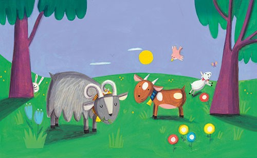 Giuditta Gaviraghi Illustration - giuditta, gaviraghi, guiditta gaviraghi,digital, traditional, commercial, picture book, picturebook, colour, colourful, sweet, animal, goats, field, countryside, nighttime, play, play time, grass, field, rabbit, bunny, lamb