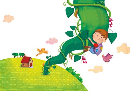 Giuditta Gaviraghi Illustration - giuditta, gaviraghi, guiditta gaviraghi,digital, traditional, commercial, picture book, picturebook, colour, colourful, sweet, animal, bird, boy, child, person, bean stalk, jack and the bean stalk, clouds, painted, house, sky, climbing, climb