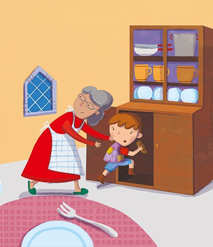 Giuditta Gaviraghi Illustration - giuditta, gaviraghi, guiditta gaviraghi,digital, traditional, commercial, picture book, picturebook, colour, colourful, sweet, person, people, grandma, boy, grandson, house, hide, hiding, painted, window, kitchen