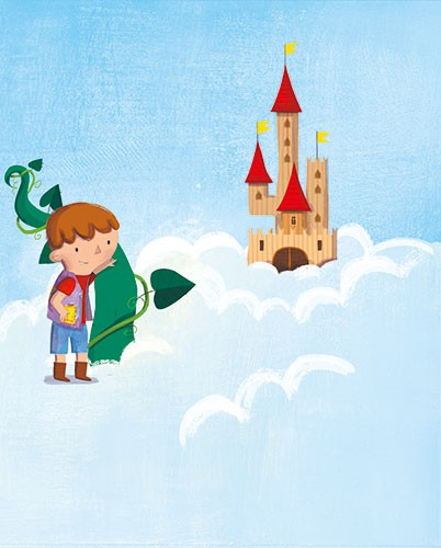 Giuditta Gaviraghi Illustration - giuditta, gaviraghi, guiditta gaviraghi,digital, traditional, commercial, picture book, picturebook, colour, colourful, sweet, boy, child, person, clouds, castle, jack and the bean stalk, bean stalk, castle, sky, fairytale
