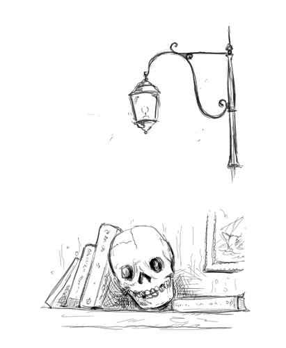 Gabby Grant Illustration - gabby grant, gabby, grant, traditional, digital, picture book, fiction, educational, graphic novel, commercial, painted, classic, line, black line, skull, books, shelf, light, sketchy