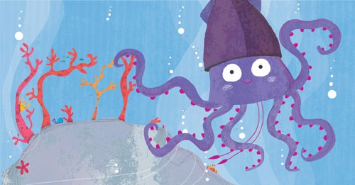 Giuditta Gaviraghi Illustration - giuditta, gaviraghi, guiditta gaviraghi,digital, traditional, commercial, picture book, picturebook, collage, colour, colourful, sweet, cute, under water, bubbles, water, sea, ocean, plants,squid,