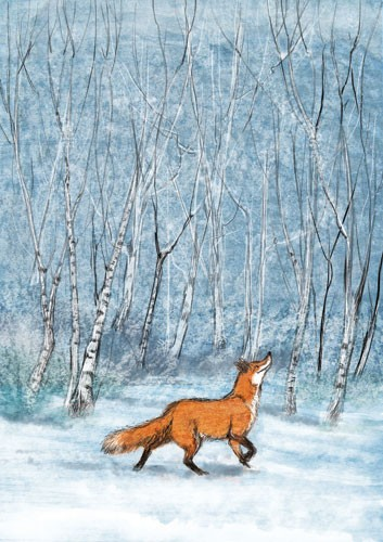 Gabby Grant Illustration - gabby grant, gabby, grant, traditional, digital, picture book, fiction, educational, graphic novel, commercial, painted, classic, fox, animal, forest, woods, trees, seasonal, winter