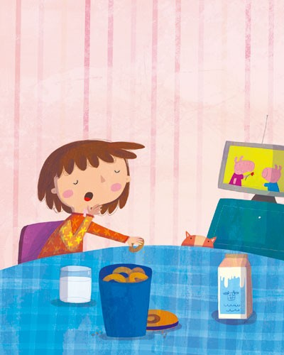 Giuditta Gaviraghi Illustration - giuditta, gaviraghi, guiditta gaviraghi,digital, traditional, commercial, picture book, picturebook, collage, colour, colourful, sweet, cute, girl,  child, person, people, figure, breakfast, food, mil, pigs, piggy, table, cat, pet, animal