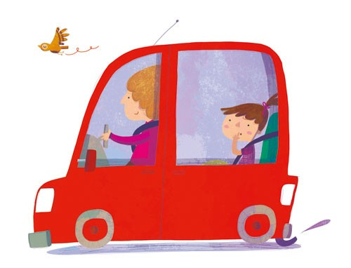 Giuditta Gaviraghi Illustration - giuditta, gaviraghi, guiditta gaviraghi,digital, traditional, commercial, picture book, picturebook, collage, colour, colourful, sweet, cute, girl, woman, child, person, people, figures, car, bird, driving