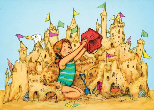 Gabby Grant Illustration - gabby grant, gabby, grant, traditional, picture book, fiction, educational, graphic novel, commercial, painted, classic, colourful, cute, sweet, girl, sandcastle, beach, seagull, beach