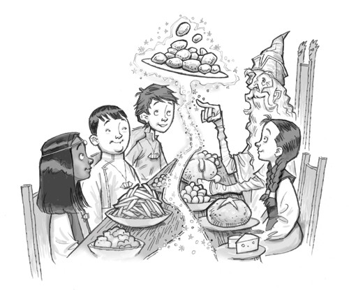 Graham Howells Illustration - graham, howells, graham howells, commercial, fiction, fantasy, young reader, young, YA, black line, line, black and white, people, person, children, man, wizard, boys, girls, food, magic, table, seats, friends, friendship