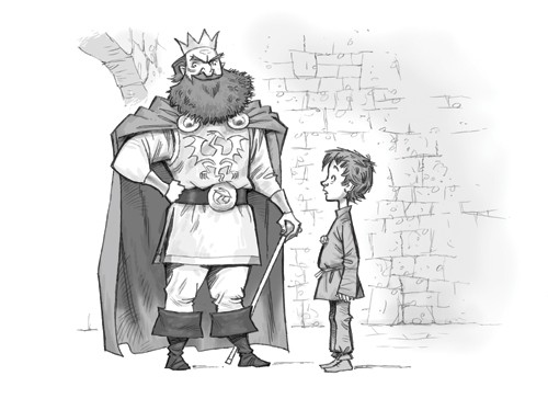 Graham Howells Illustration - graham, howells, graham howells, commercial, fiction, fantasy, young reader, young, YA, black line, line, black and white, person, people, boy, king, bricks, belt, sword, boots, crown, boots