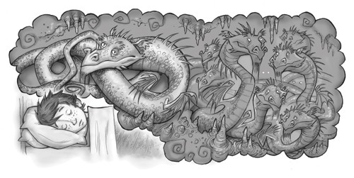 Graham Howells Illustration - graham, howells, graham howells, commercial, fiction, fantasy, young reader, young, YA, black line, line, black and white, dragons, boy, figure, person, child, dragon, magic, bed, dreams, bedroom