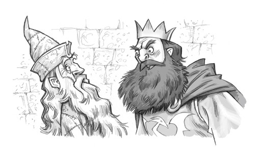 Graham Howells Illustration - graham, howells, graham howells, commercial, fiction, fantasy, young reader, young, YA, black line, line, black and white, wizard, man, king, men, people, person, figures, figurative, crown, bricks, cape, beard, fight, anger