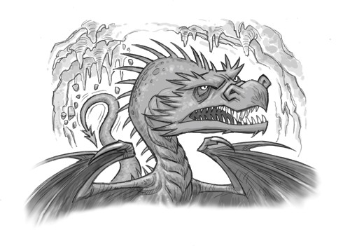 Graham Howells Illustration - graham, howells, graham howells, commercial, fiction, fantasy, young reader, young, YA, black line, line, black and white, dragon, cave, scary, angry, magic