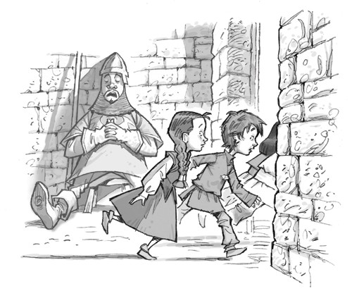 Graham Howells Illustration - graham, howells, graham howells, commercial, fiction, fantasy, young reader, young, YA, black line, line, black and white, children, guard, sleeping, boys, girls, adventure, people, bricks, castle, walking