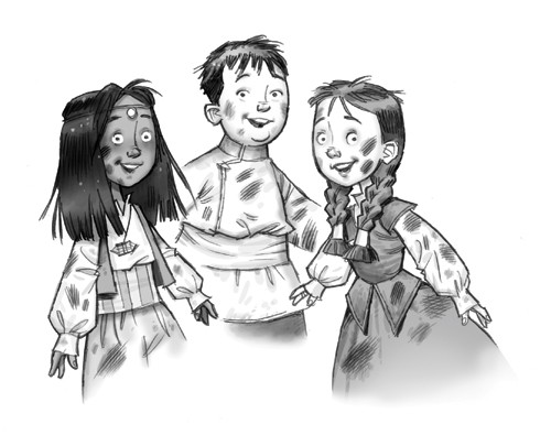 Graham Howells Illustration - graham, howells, graham howells, commercial, fiction, fantasy, young reader, young, YA, black line, line, black and white, children, boys, girl, friendship, dirty, adventure