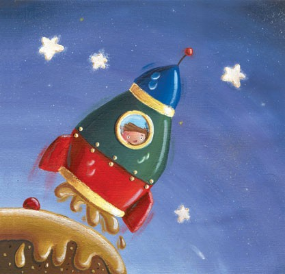 Garyfallia Leftheri Illustration - garyfallia leftheri, acrylic, paint, painted, commercial, picture book, picturebook, educational, people, children, boys, space, rocket, spaceship