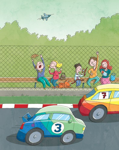 Garyfallia Leftheri Illustration - garyfallia leftheri, garyfallia, leftheri, commercial, picture book, picturebook, educational, digital, illustrator, photoshop, people, person, figures, children, child, cars, race cars, plane, racing, race