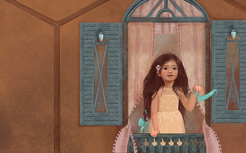 Galia Zinko Illustration - galia, zinko, galia zinko, commercial, fiction, young reader, picture book, YA, YA readers, illustrator, drawing, traditional, digital, fine art, girl, little fima, child, person, window, balcony, book, story,