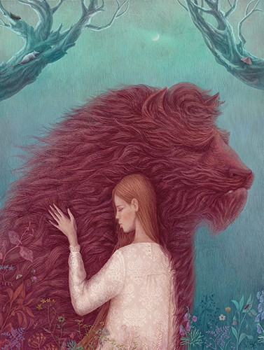 Galia Zinko Illustration - galia, zinko, galia zinko, commercial, fiction, picture book, illustrator, drawing, traditional, digital, fine art, woman, person, animal, beast, flowers, trees, mouse, moth, beauty and the beast, story