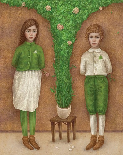 Galia Zinko Illustration - galia, zinko, galia zinko, commercial, fiction, picture book, illustrator, drawing, traditional, digital, fine art, children, people, boy, girl, bush, shrub, flowers, trees, leaves, roses