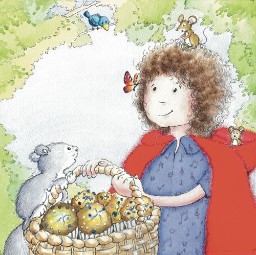 Heather Dickinson Illustration - heather, dickinson, heather dickinson, traditional, paint, painted, painting, watercolour, pencil, commercial, picture book, fiction, educational, little red riding hood, girls, children, animals, people