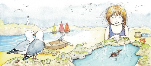 Heather Dickinson Illustration - heather, dickinson, heather dickinson, traditional, paint, painted, painting, watercolour, pencil, commercial, picture book, fiction, educational, young reader, YA, girl, mermaid, children, child, water, people, person, figure, seagull, bird, boats, lake,