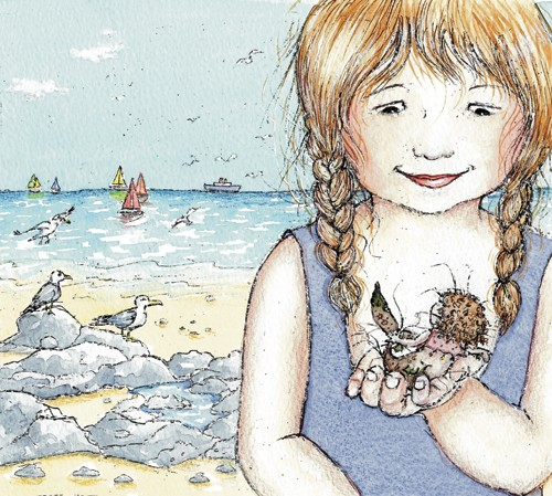 Heather Dickinson Illustration - heather, dickinson, heather dickinson, traditional, paint, painted, painting, watercolour, pencil, commercial, picture book, fiction, educational, young reader, YA, girl, mermaid, children, child, people, person, figure, seagulls birds, boats, sailing, sa