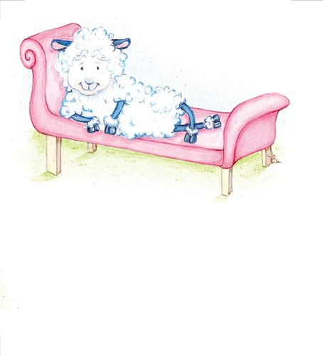 Heather Dickinson Illustration - heather, dickinson, heather dickinson, traditional, paint, painted, painting, watercolour, pencil, commercial, picture book, fiction, educational, animal, sheep, model, chair, grass