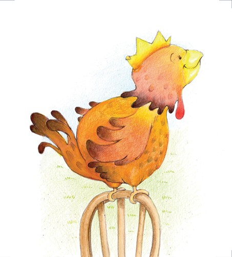 Heather Dickinson Illustration - heather, dickinson, heather dickinson, traditional, paint, painted, painting, watercolour, pencil, commercial, picture book, fiction, educational, chicken, chair, posing, cute, sweet