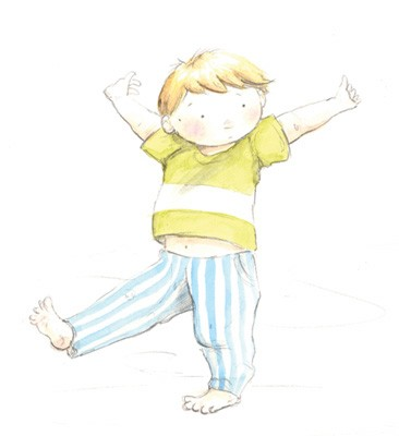 Hannah Whitty Illustration - hannah whitty, commercial, paint, painted, watercolour, picture book, picturebook, fiction, boy, cute, sweet, young, pyjamas, stretch, tired, morning, bed