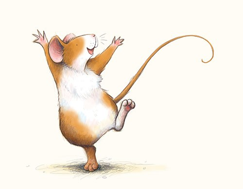 Hannah Whitty Illustration - hannah whitty, commercial, paint, painted, watercolour, picture book, picturebook, fiction, digital, cute, sweet, young, mouse, mice, happy, dance, smile, jump
