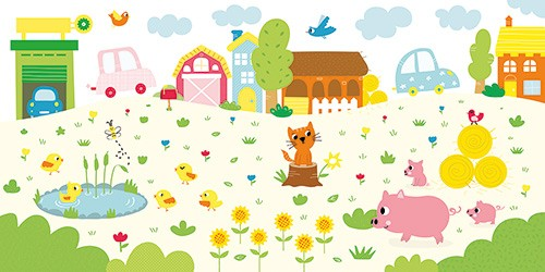 Isabel Aniel Illustration - sabel aniel, isabel, aniel, digital, photoshop, illustrator, commercial, picture book, novelty, board book, sweet, cute, young, animals, cat, pig, pigs, duck, ducks, ducklings,  flower, nature, outside, wildlife, cars, trees, street, town, houses, birds