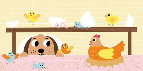 Isabel Aniel Illustration - sabel aniel, isabel, aniel, digital, photoshop, illustrator, commercial, picture book, novelty, board book, sweet, cute, young, young reader, YA, dog, hen, chicken, chicks, animals, insects, colourful