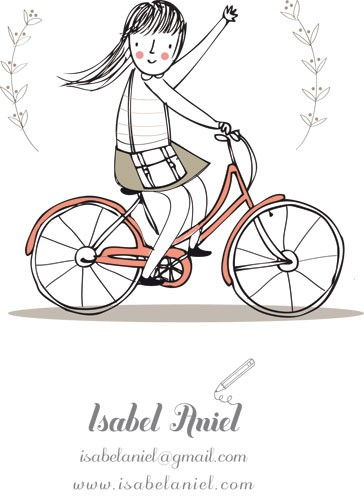 Isabel Aniel Illustration - isabel aniel, isabel, aniel, digital, commercial, picture book, novelty, sweet, cute, young, greetings cards, advertising, editorial, people, children, girls, cycling, bikes, bicycle