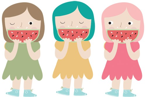 Isabel Aniel Illustration - isabel aniel, isabel, aniel, digital, photoshop, illustrator, commercial, picture book, novelty, board book, sweet, cute, young, girls, watermelon, melon, fruit, colour, colourful, dress, trainers, young reader, YA