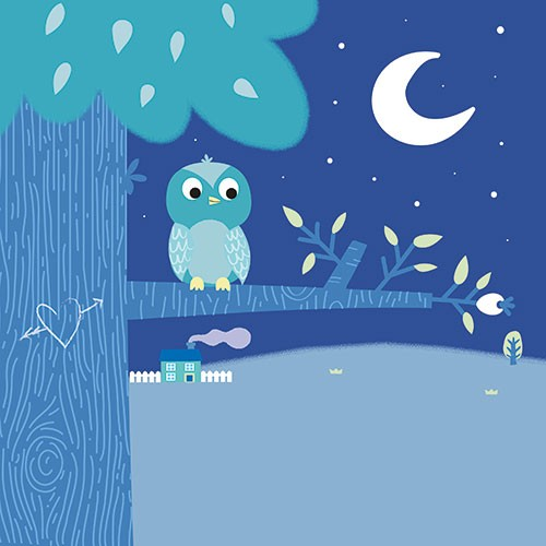 Isabel Aniel Illustration - sabel aniel, isabel, aniel, digital, photoshop, illustrator, commercial, picture book, novelty, board book, sweet, cute, young, animals, owl, bird, tree, night, dark, stars, moon,