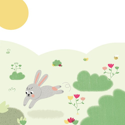 Isabel Aniel Illustration - sabel aniel, isabel, aniel, digital, photoshop, illustrator, commercial, picture book, novelty, board book, sweet, cute, young, animals, bunny, rabbit, leaping, jumping, flowers, trees, bushes, grass, green, nature