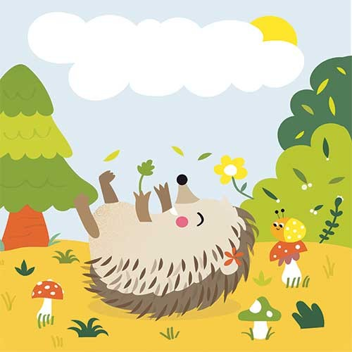 Isabel Aniel Illustration - isabel aniel, isabel, aniel, digital, photoshop, illustrator, commercial, picture book, novelty, board book, sweet, cute, young, young reader, YA, hedgehog, playing, play time, bug, snail, flowers, leaves, forest, trees, sun, sunshine, couds, sky ,, anima