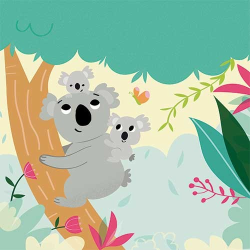 Isabel Aniel Illustration - isabel aniel, isabel, aniel, digital, photoshop, illustrator, commercial, picture book, novelty, board book, sweet, cute, young, young reader, YA, koala bear, bear, koala, butterfly, trees, jungle, forest, flowers,, animals