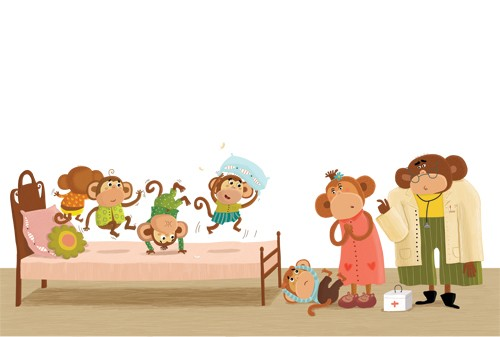 Inna Chernyak Illustration - inna, chernyak, inna chernyak, painted, digital, acrylic, trade, commercial, picturebook, young reader, YA, animals, monkeys, children, babies, doctor, bed, playing, play time, pillows, friends, friendship, cute, sweet, funny, humor