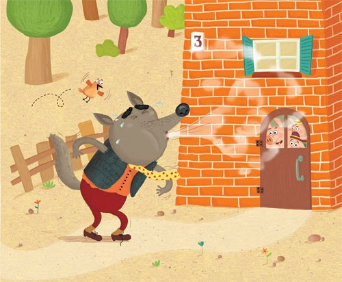 Inna Chernyak Illustration - inna, chernyak, inna chernyak, digital, commercial, educational, paint, painted, picturebook, picture book, animal, animals, bricks, house, three little pigs, fairytale, YA, young readers, pigs, piggies, pig, piggy, colourful, colour, trees, bird, humour,