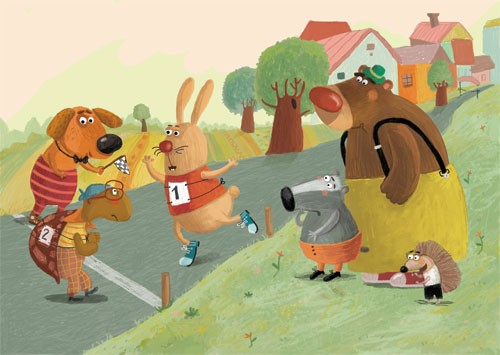 Inna Chernyak Illustration - inna, chernyak, inna chernyak, painted, digital, acrylic, trade, commercial, picturebook, grass, hills, bears, badgers, dogs, puppy, puppies, rabbits, bunnies, brown bears, tortoises, glasses, trees, running, runners, race,competition, sports, hedgehogs,