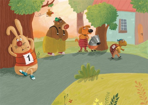Inna Chernyak Illustration - inna, chernyak, inna chernyak, painted, digital, acrylic, trade, commercial, picturebook, grass, hills, bears, badgers, dogs, puppy, puppies, rabbits, bunny, bunnies, brown bears, tortoises, glasses, trees, running, runners, race, competition, sports, hed