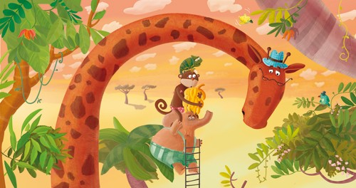 Inna Chernyak Illustration - inna, chernyak, inna chernyak, painted, digital, acrylic, trade, commercial, picturebook, young reader, YA, animals, giraffe, elephant, chameleon, monkey, food, bananas, fruit, birds, jungle, leaves, trees, clouds, sky, hat, glasses