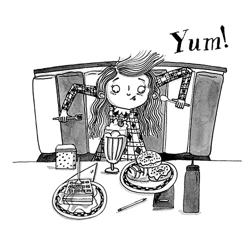 Isobel Lundie Illustration - isobel, lundie, isobel lundie, illustrator, digital, black and white, b & w, graphic, texture, fiction, young readers, YA, girl, character, food, dessert, ice cream, sundae, doughnuts, waffles, yum, knife, spoon, eating, treats, sweets, excited