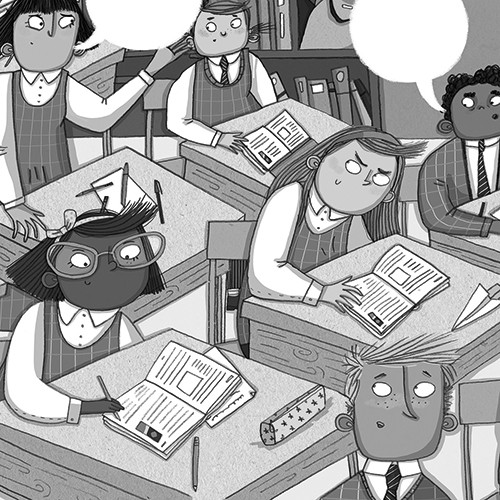 Isobel Lundie Illustration - isobel, lundie, isobel lundie, illustrator, digital, black and white, b & w, fiction, non-fiction, picture book, classroom, school, students, pupils, boys, girls, work, writing, sneaky, talking,